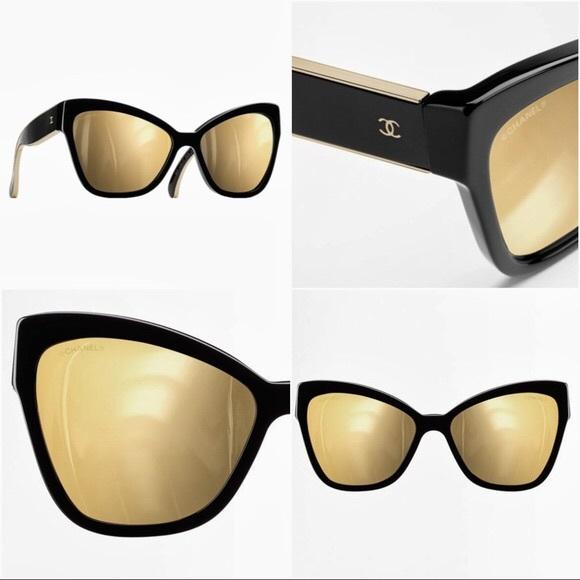 b1bad3ac71 CHANEL Accessories - Chanel Oversized Cat Eye Sunglasses Black   Gold
